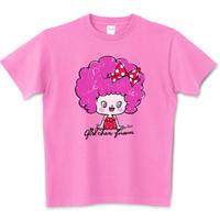 girlちゃんTシャツ(ピンクくるくるヘアー)