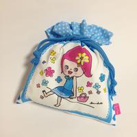 girlちゃん巾着  ブルーワンピ