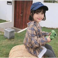 KIDS beige check shirt