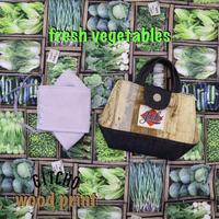 ミニトートバック型マスクケース-木と野菜マケット