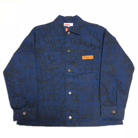 Supreme COMME des GARCONS SHIRT Printed Canvas Chore Coat Navy M 18AW 【新品】