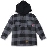BUFFALO  CHECK  HOOD  SHIRT  バッファローチェック  フード  シャツ  BLACK