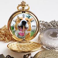 オーダーメイドアンティーク調懐中時計 ペットメモリアルグッズ ペット写真グッズ 名入れ 誕生日 ギフト