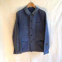 1940's Stains, repaired Blue Moleskin Coverall Made by Ange St Michel
