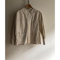 "40's White Cotton Twill French Painter Jacket Dead Stock Made by"" Le Cres Sounle"""