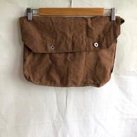 1930's French Military Brown Linen Musette Bag Dead Stock