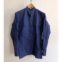 "70's Stand Collar French Work Shirt With Epaulette ""Cotton"" Fabric Dead Stock"