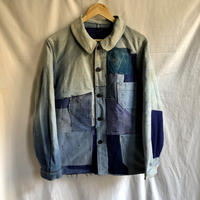 40's Ink Blue Moleskin Coverall Hard Repaired and Remade Made by Ange St Michel