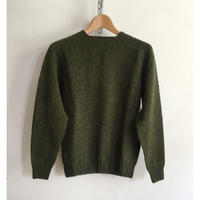 Harley of Scotland Crew Neck Shetland Sweater Pine Shadow