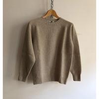 Harlay of Scotland Crew Neck Shetland Sweater Putty
