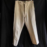 〜1930's  French Military  Natural HBT Linen Bourgeron Pants (Big Size)