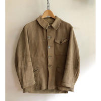 "Later 40's〜 Early 50's Beige Pique Animal Buttons Huntig Jacket Made from ""Adolphe Lafont"""