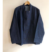 80's Euro Vintage Denim Fabric Double Brested Stand Collar Work Jacket Dead Stock