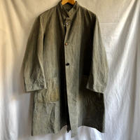 40's Italian Military Stand Collar Black Chambray Coat