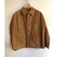 40's〜50'sBrown Canvas Animal Buttons Hunting Jacket