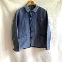 Early1950's Faded Ink Blue Moleskin Coverall Made by Le Mont St Michel