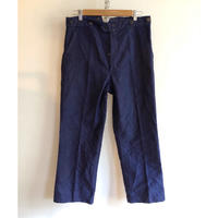 30's〜40's Ink Blue Moleskin Work Trousers With Back Cinch Dead Stock