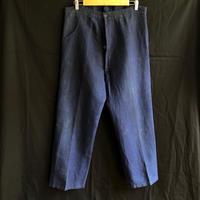 1920's〜1930's Belgian Indigo Linen Coal miner Work Pants Unusual Model.