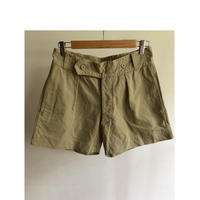 40's French Army Chino Shorts Double Front Side by side Button
