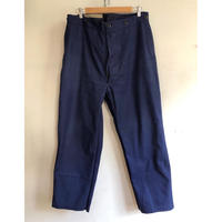 40's French Cotton Twill Work Trousers  With Back Cinch