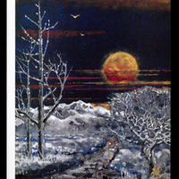絵はがき:雪原の夕日