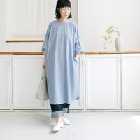 si-si-si comfort スースースーコンフォート バルーンスリーブワンピース 22021-S015C blue stripe