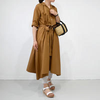 THE FACTORY  ザ・ファクトリー  タイプライター ギャザーワンピース TF18SS-0501 BROWN