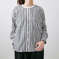 UNIVERSAL TISSU ユニヴァーサルティシュ バーバーストライプ ワーキングシャツ UT182SH015  BLACK