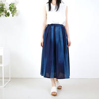 久留米かすり|絣フレアスカート |藍グラデーション|GOUACHE FUKUOKA