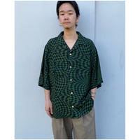 BLACK WEIRDOS「Checker Aloha shirt」 green.