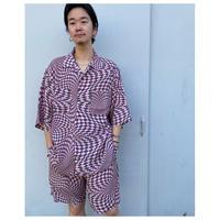 BLACK WEIRDOS「Checker Aloha Shirt」pink
