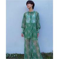 ERiKOKATORi「 flower chiffon blouse」GRN.