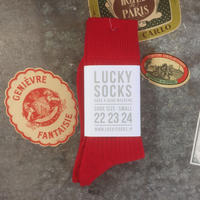 LUCKY SOCKS  PREMIUM WOOL RIB SOCKS  red
