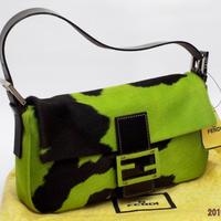 FENDI フェンディ バケット ハラコ、黄緑/黒