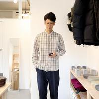 MUYA / STAND COLLAR SHIRT【ベージュチェック】