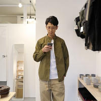 orSlow / STAND COLLAR L/S SHIRTS【オリーブ/ナイロン】