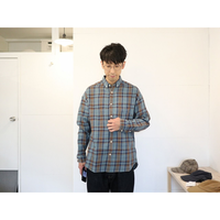 maillot (ユニセックス)  / 綿麻ツイルチェックリラックスBDシャツ【ブルー系 / ベージュ系チェック】