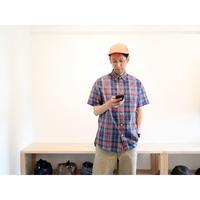 maillot マイヨ 【ユニセックス】 / C/S check S/S RELAX B.D shirt コットンシルクリラックスBD半袖シャツ【グリーンチェック 】