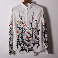 レトロ鳥絵柄ホワイトシック長袖シャツ