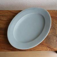 オーバル皿Mサイズ・青マット /    あわびウェア