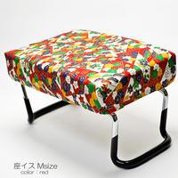 座イス/Mサイズ/012赤×和柄/座椅子/折りたたみ式/お仏壇用/正座イス