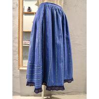 ストライプ柄  刺繍  切り替え    鍵編みレース  ロング丈チロルスカート