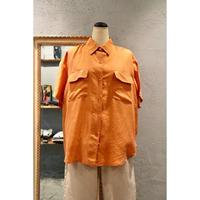 シルクシャツ 半袖 オレンジ