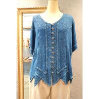 インドレーヨン刺繍トップス(ブルー)