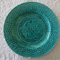バルボティーヌ リュベル窯 グリーンのデザート皿 さくらんぼ