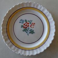 白釉 褐色のお花とイエローライン デザート皿