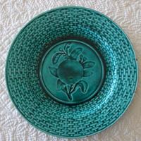 バルボティーヌ リュベル窯 グリーンのデザート皿 オレンジ