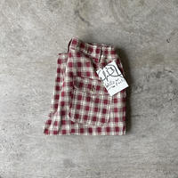 "Willow Pants "" P-008 "" DEADSTOCK FABRIC Burgundy Check"