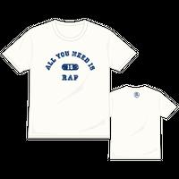 ALL YOU NEED IS RAP カレッジTシャツ/オフホワイト