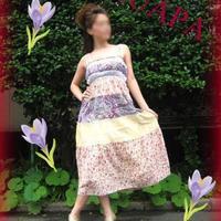 レース付花柄×ペイズリーのボーダーロング丈コットンワンピース